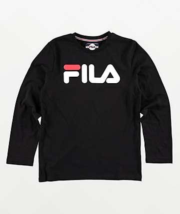 FILA Classic Logo camiseta negra de manga larga para niños