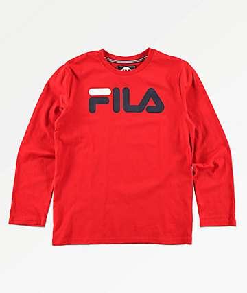 FILA Classic Logo camiseta roja de manga larga para niños