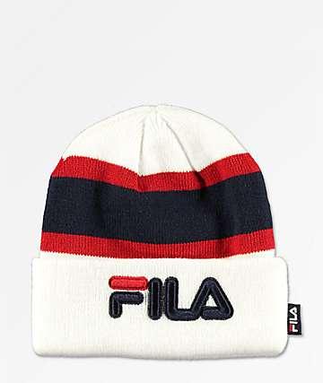 FILA Colorblock White Foldover Beanie
