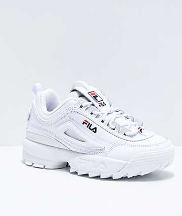 zapatos fila hombre blancos altos