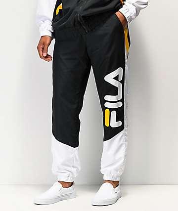 FILA Gustavo pantalones de chándal negros, blancos y dorados