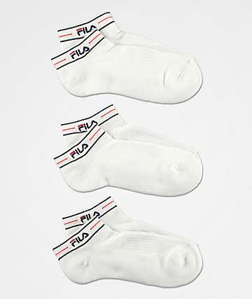 FILA Heritage Logo Script White 3 Pack Low Cut Socks