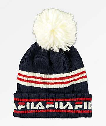 FILA Heritage Red, White & Blue Pom Beanie