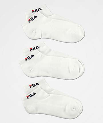 FILA Heritage Script White 3 Pack Low Cut Socks