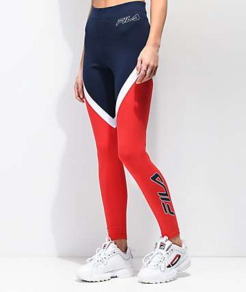 FILA Ivanna High Waist Navy & Red Leggings