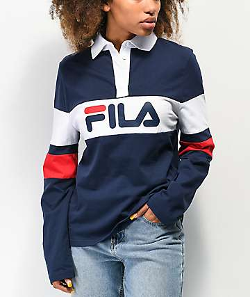 FILA Jacqueline Navy Long Sleeve Polo Shirt