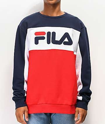 FILA Lesner Navy & Red Crew Neck Sweatshirt