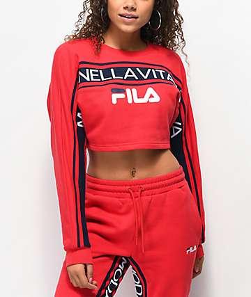 FILA Lucie Red Crop Crew Neck Sweatshirt