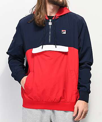 FILA Macker 2 Navy & Red Anorak Jacket