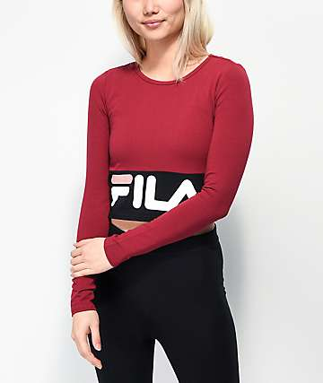 FILA Maria Burgundy & Black Crop Long Sleeve T-Shirt