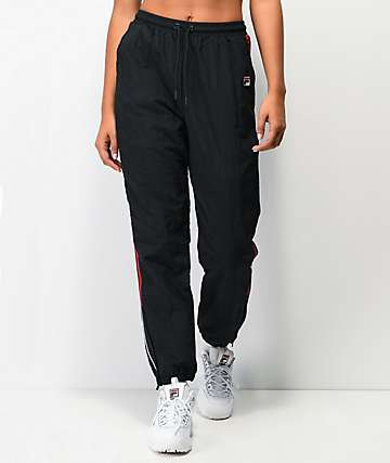 FILA Marielle Black & Red Track Pants