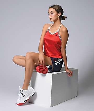 FILA Marisol Red Halter Crop Top