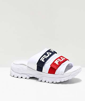 FILA Outdoor Red, White & Blue Slide Sandals