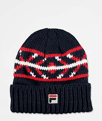 FILA Peacoat Jacquard Navy & Red Beanie
