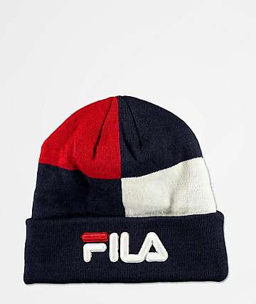 FILA Peacoat Navy & Red Colorblock Beanie