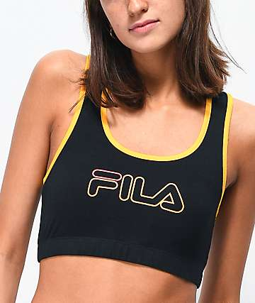 FILA Rebeca Black & Gold Sports Bra