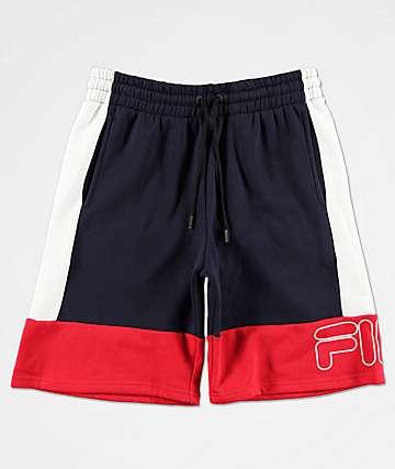 FILA Reiley shorts de punto en rojo, azul marino y blanco