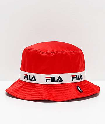 FILA Satin Jacquard Red Bucket Hat