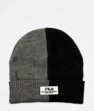 FILA Split Black & Dark Marble Grey Beanie