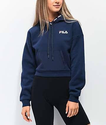 FILA Tina Navy Crop Hoodie