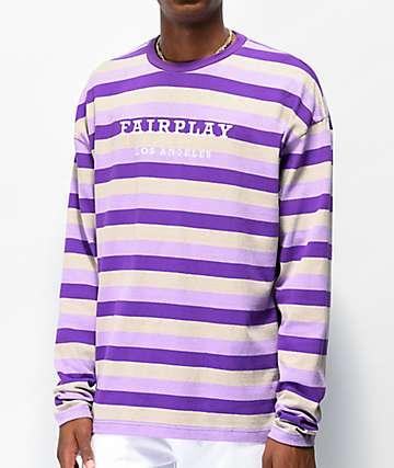 Fairplay Rudy camiseta de manga larga morada de rayas