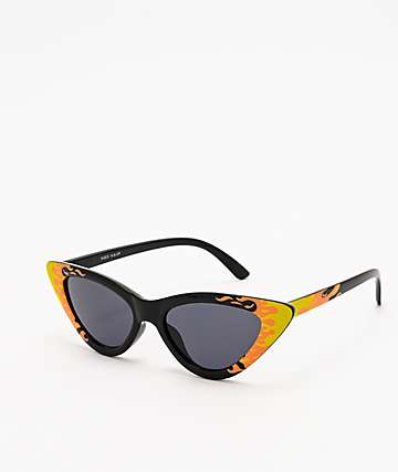 Flames Cat Eye Black Sunglasses
