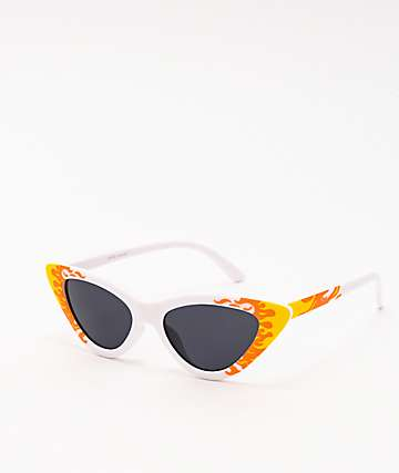 Flames Cat Eye White Sunglasses
