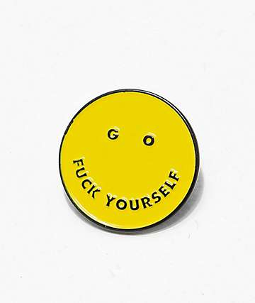 Flying Coffin Go Fuck Yourself Smile Pin