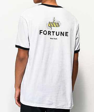 Fortune Gold Digger White & Black Ringer T-Shirt