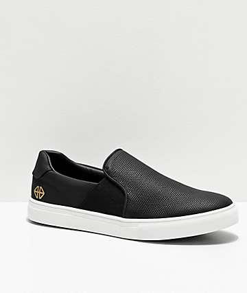 Forwin S3EN Slip-On zapatos de skate negros y blancos