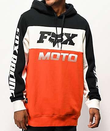 Fox Charger sudadera con capucha anaranjada, negra y blanca