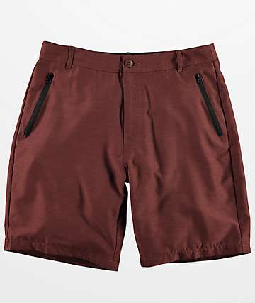 Free World Maverick Dark Burgundy Hybrid Shorts