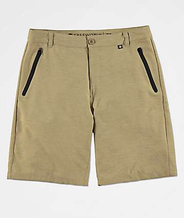 Free World Maverick Dark Khaki Hybrid Shorts