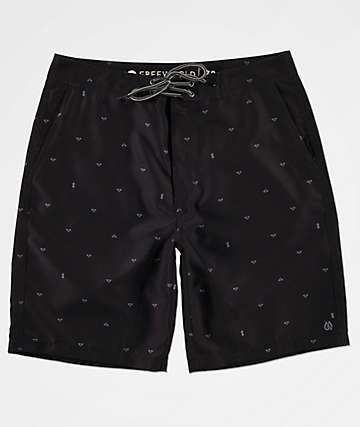 Free World Surfrider Black Print Hybrid Shorts