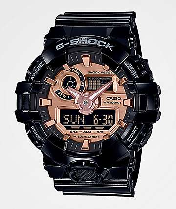G-Shock GA700 Black & Rose Gold Watch