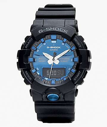 G-Shock GA810 Black & Metallic Blue Watch