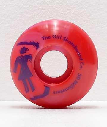 Girl Staple Sketchy Swirl 50mm Red & Pink Skateboard Wheels