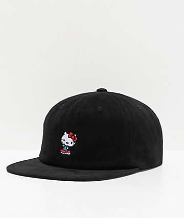 Girl x Hello Kitty 45th Anniversary Push Black Strapback Hat