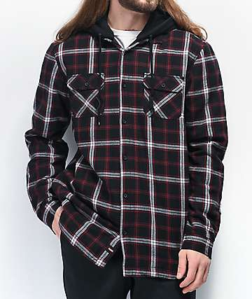 Globe Alford III Black & Red Hooded Flannel Shirt