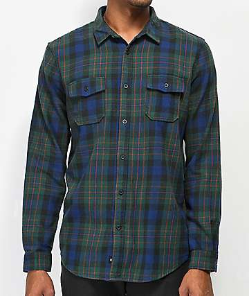 Globe Flanigan Green, Navy, & Orange Flannel Shirt