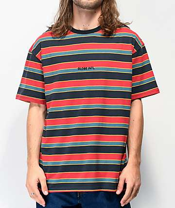 Globe Montage Navy, Teal & Red Berry Stripe T-Shirt