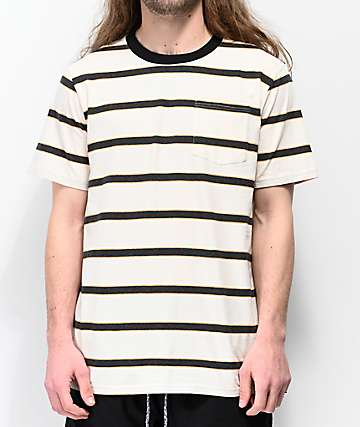 Globe Moonshine White, Black & Orange Striped Pocket T-Shirt
