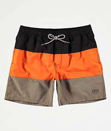 Globe Scope Orange Elastic Waist Board Shorts