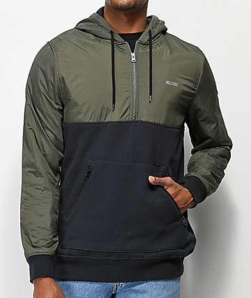 Globe Shade Olive & Charcoal Half-Zip Hoodie