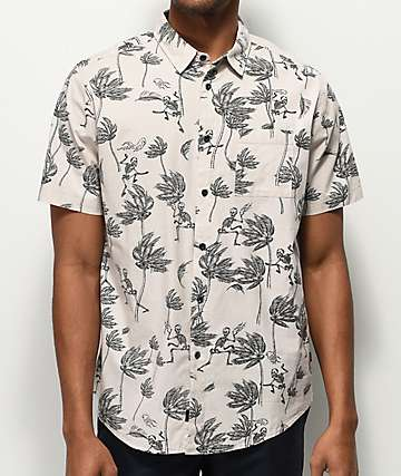 Globe Typhoon Off White Short Sleeve Button Up Shirt