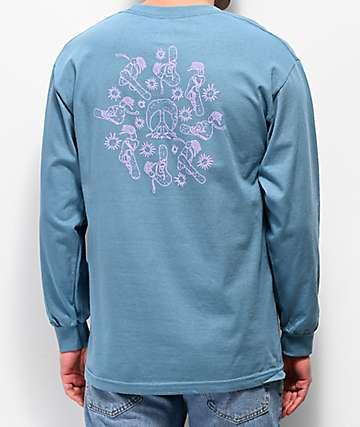 Gnarly Heiro Slate Blue Long Sleeve T-Shirt