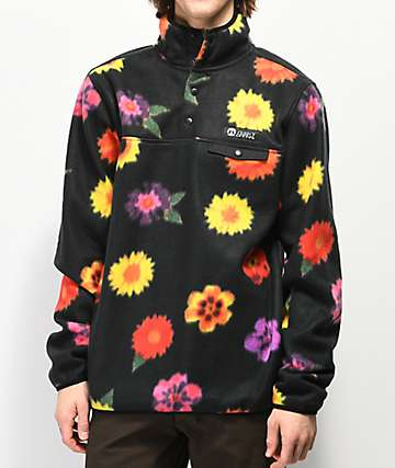 Gnarly Vagabond Trippy Floral Printed Fleece Sweatshirt