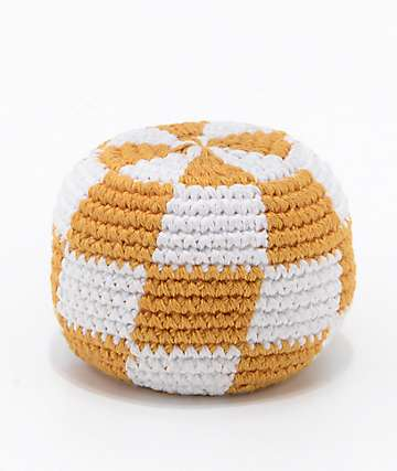 Guatemalart Checkerboard Yellow & White Hacky Sack