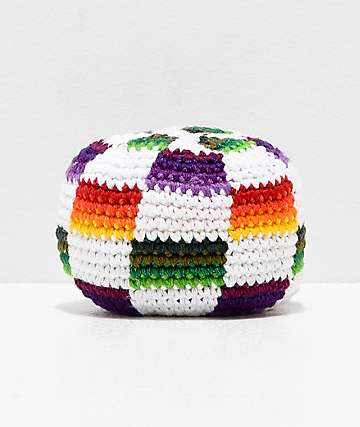 Guatemalart Multicolored Checkered Crochet Hacky Sack