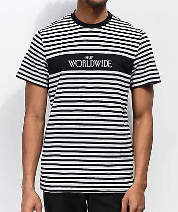 HUF Archive camiseta negra y gris de rayas